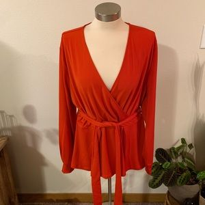 NWT • red v neck wrap blouse